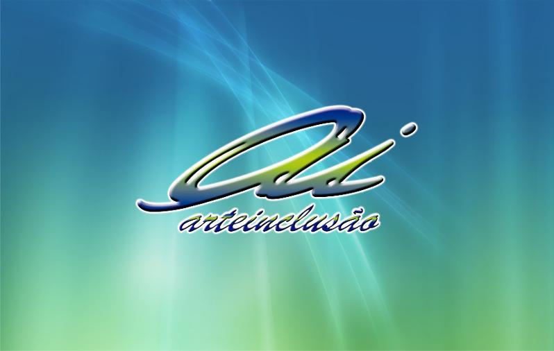 Logotipo da Arteinclusão com plano de fundo degradê