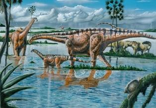 Imagem de cenário do período dos Dinossauros da especie Amasonssauros