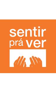 logotipo laranja da exposição sentir pra ver